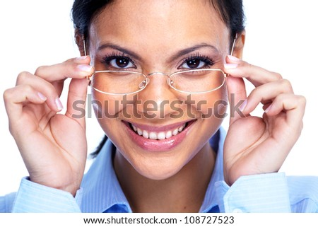 Businesswoman with glasses. Eye care.