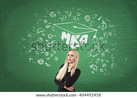 Businesswoman with hand at cheek, academic hat, science icons and MBA drawn over her. Green background. Concept of education. - stock photo