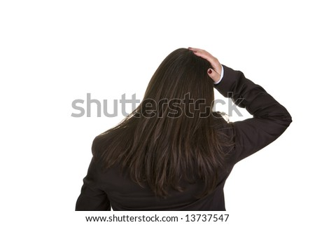 businesswoman with hand on the head isolated on white - stock photo