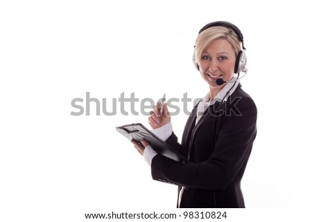 Businesswoman with headset 3 - stock photo
