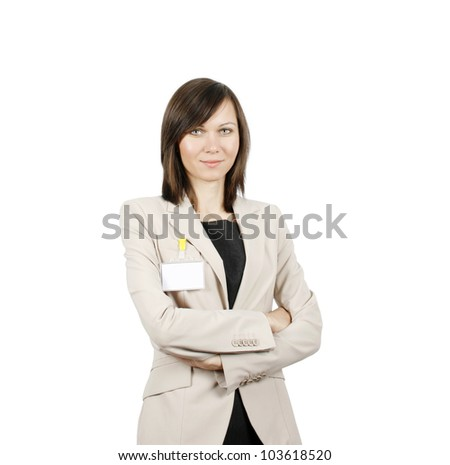 Businesswoman with id badge isolated on white background