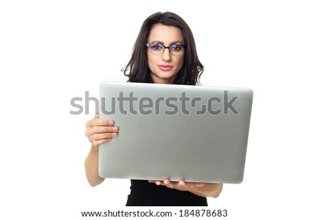 Businesswoman with laptop isolated  on a white background