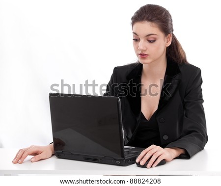 businesswoman with laptop. Isolated on a white background.