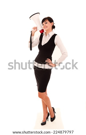 Businesswoman with megaphone, full lenght, white background.