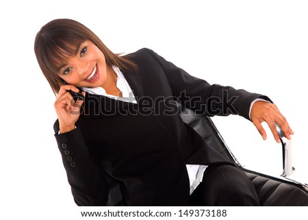 businesswoman with mobile - stock photo