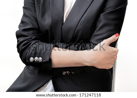 Businesswoman with nails painted for red colour