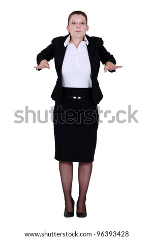 Businesswoman with palms out flat - stock photo