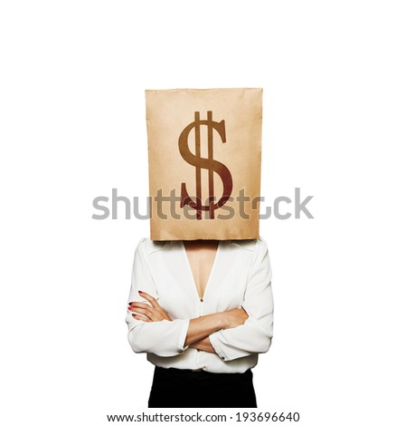 businesswoman with paper bag on her head. isolated on white background - stock photo