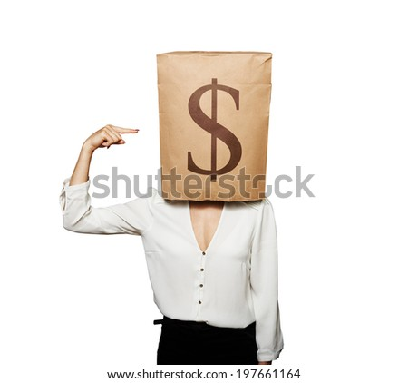 businesswoman with paper bag on her head pointing at dollar sign. isolated on white background - stock photo