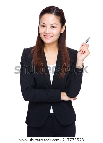 Businesswoman with pen up