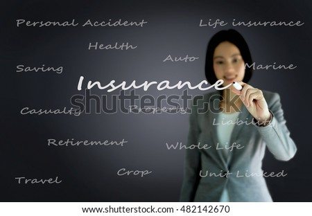 businesswoman with pen writing on the screen.Insurance