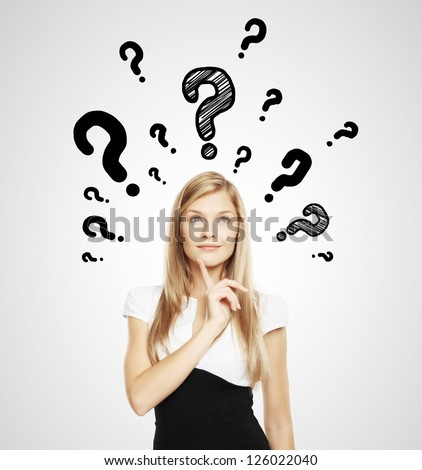 businesswoman with question mark over head - stock photo