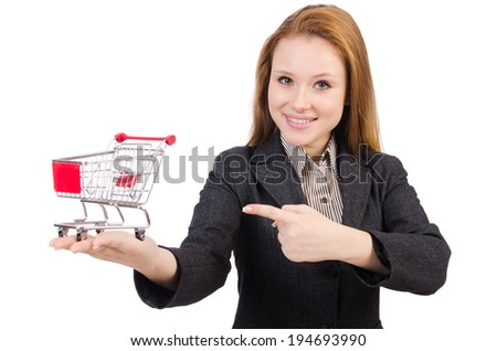 Businesswoman with shopping cart - stock photo