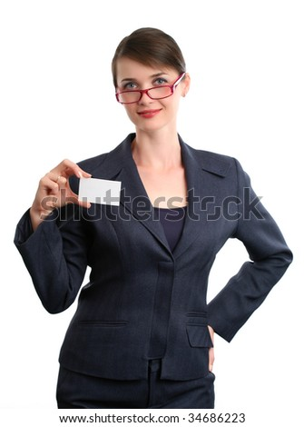 Businesswoman with sign on white background.