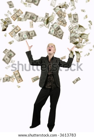 Businesswoman with success, dollars are raining over her