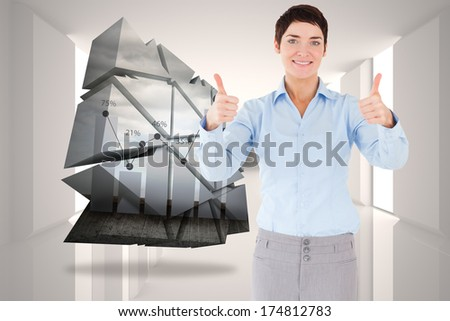 Businesswoman with the thumbs up against digitally generated room