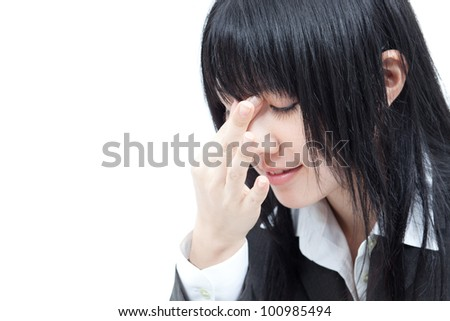 businesswoman with tired eyes, isolated on white background - stock photo