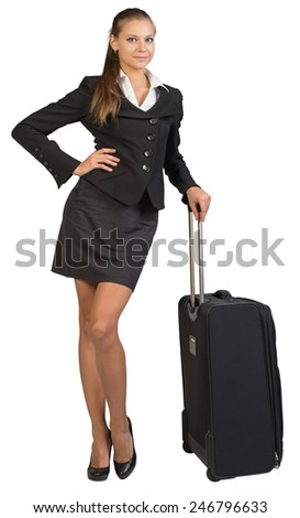 Businesswoman with wheeled travel bag, hand on hip, looking at camera, smiling.  Isolated over white background