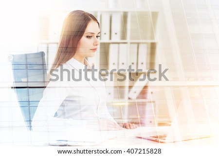 Businesswoman working on laptop, office at background. Double exposure. Concept of work. - stock photo