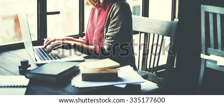 Businesswoman Working Online Planning Research Concept