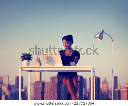 Businesswoman Working Outdoor New York Concept - stock photo