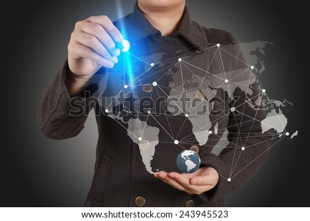 businesswoman working with new modern computer show social network structure as concept