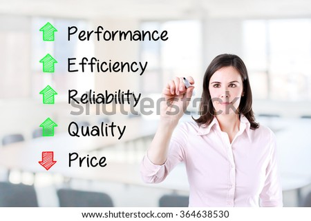 Businesswoman writing decreased price compare with increased quality, reliability, efficiency, performance. Office background.  - stock photo