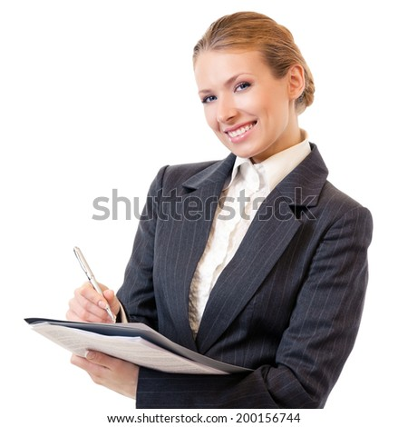 Businesswoman writing, isolated on white - stock photo