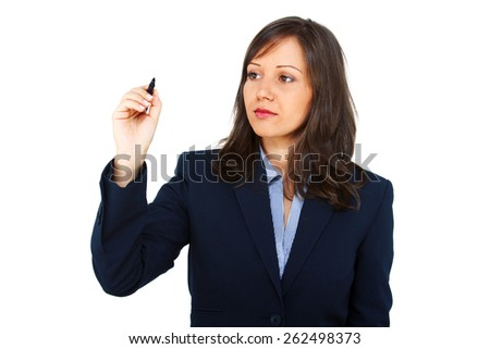 Businesswoman writing on an invisible screen isolated on white background