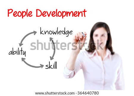 Businesswoman writing people development concept. White background.
