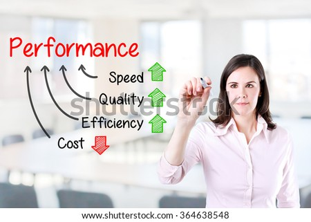 Businesswoman writing performance concept of increase quality speed efficiency and reduce cost. Office background.  - stock photo