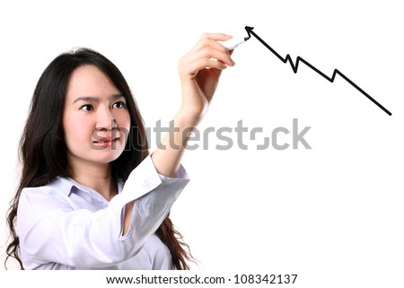 businesswoman writing success and growth concept graph by marker pen on copy space white seamless background