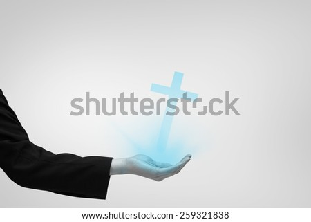 Businesswomans hand presenting against blue vignette background