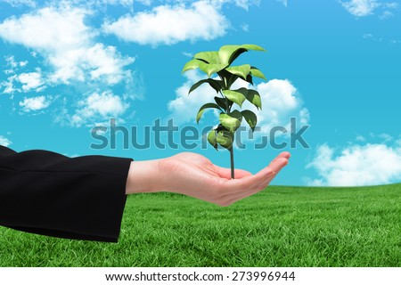 Businesswomans hand presenting against green field under blue sky