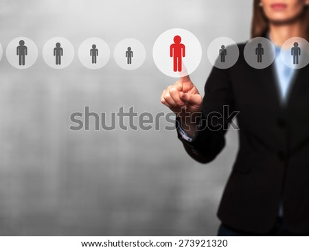 Businesswomen Hand select New Employee from Electronic interface using for Business technology, internet, networking, Recruitment and Workforce Concept. Isolated on grey. Stock Image - stock photo