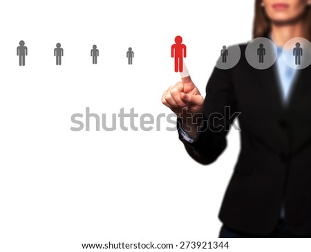 Businesswomen Hand select New Employee from Electronic interface using for Business technology, internet, networking, Recruitment and Workforce Concept. Isolated on white. Stock Image - stock photo
