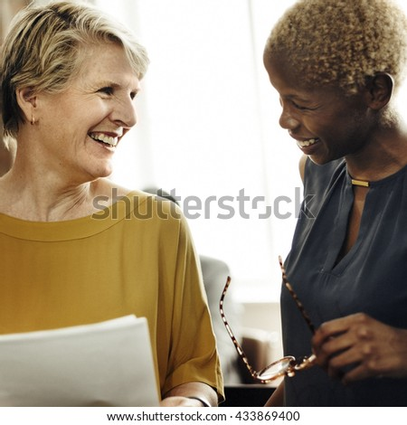 Businesswomen Meeting Discussion Talking Ideas Concept - stock photo
