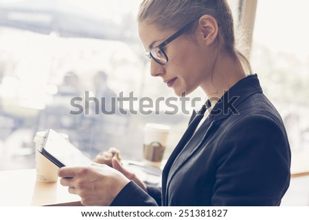 Businesswomen using a digital tablet