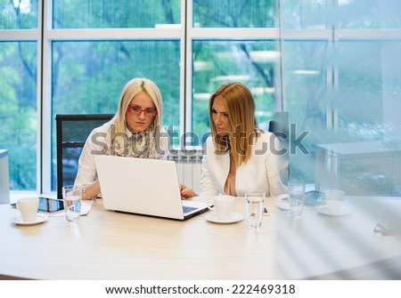 Businesswomen with laptop. Businesswomen looking at laptop screen together.  - stock photo