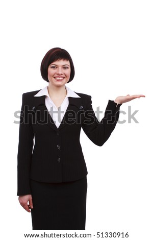 Busnesswoman something on her hands. Young friendly smiling business woman presenting something. Photo of showing female, isolated on white. - stock photo