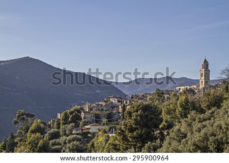 Bussana Vecchia - 120 years after the powerful earthquake people returned to the idyllic life and ruined village - stock photo