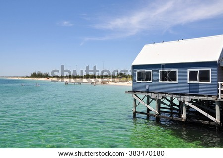 Busselton Jetty gift shop and Indian ocean in Australia/Busselton Jetty Gift Shop/BUSSELTON,WA,AUSTRALIA-JANUARY 15,2016:Busselton Jetty gift shop, tourists and ocean in Busselton,Western Australia. - stock photo