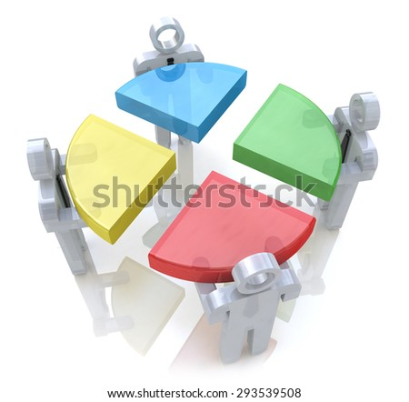 Bussines chart and people. Teamwork concept. 3d render  - stock photo