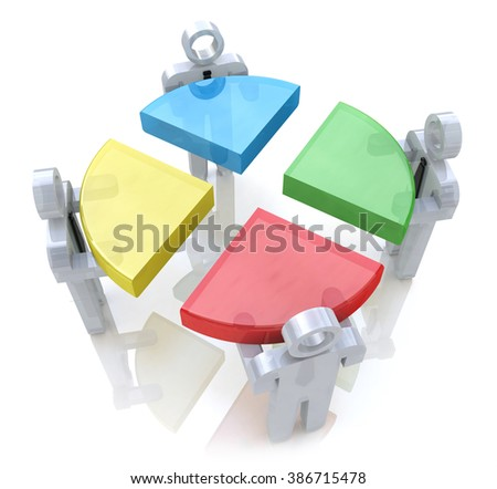 Bussines chart and people. Teamwork concept. 3d render in the design of information related to teamwork - stock photo