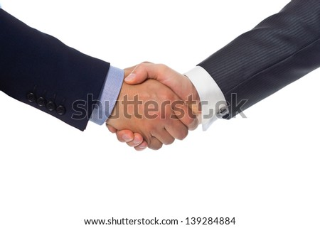 Bussines hand shaking will show succesful cooperation. - stock photo