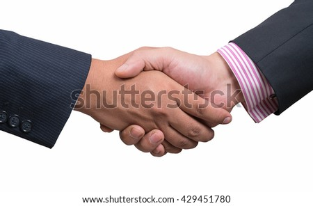 Bussines hand shaking will show succesful cooperation.