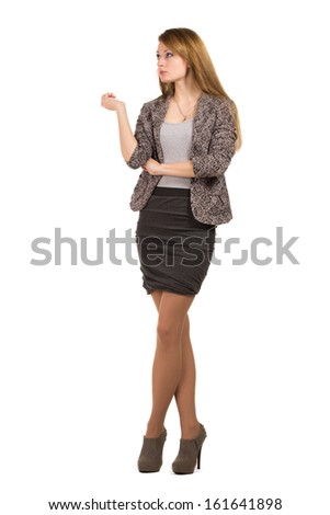 Bussines woman isolated on white background - stock photo