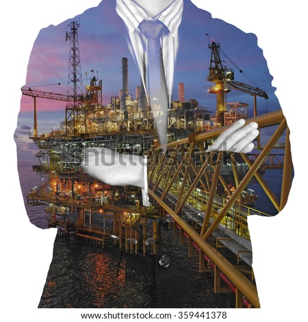 bussinessman and rig double exposure concept. energy. power oil and gas concept. Offshore oil and rig construction.