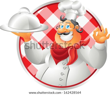 bust chef table cloth - stock photo