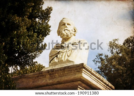 Bust of Giuseppe Garibaldi in one park of Palermo - stock photo